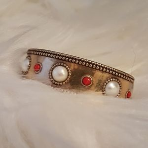 NWT Lucky Brand Cuff Bracelet Faux Pearl Coral